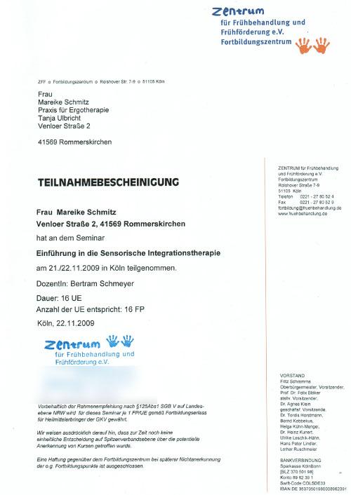 Einführungskurs in die Sensorische Integrationstherapie - Zum Vergrößern bitte auf das Bild klicken