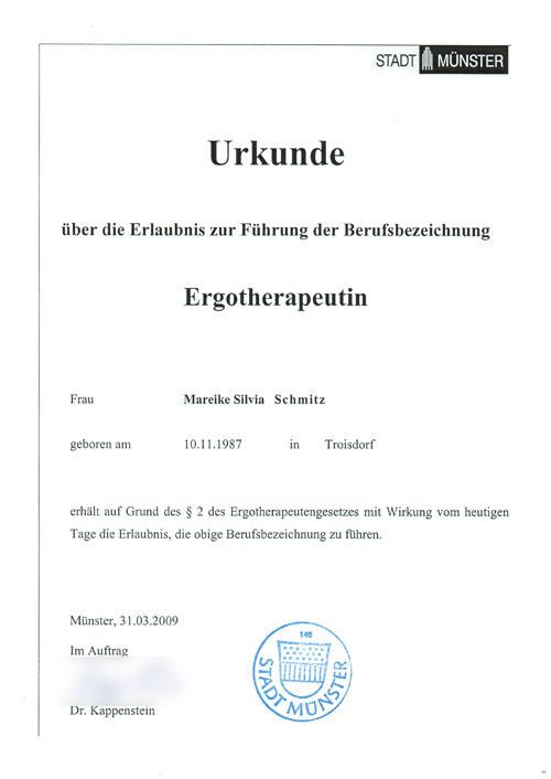 Staatlich anerkannte Ergotherapeutin - Zum vergrößern bitte auf das Bild klicken