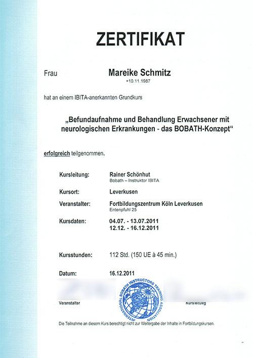 Zertifizierte Bobath-Therapeutin im Bereich Neurologie - Zum Vergrößern bitte auf das Bild klicken