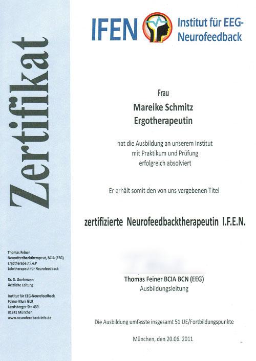 Zertifizierte Neurofeedback-Therapeutin I.F.E.N - Zum Vergrößern bitte auf das Bild klicken
